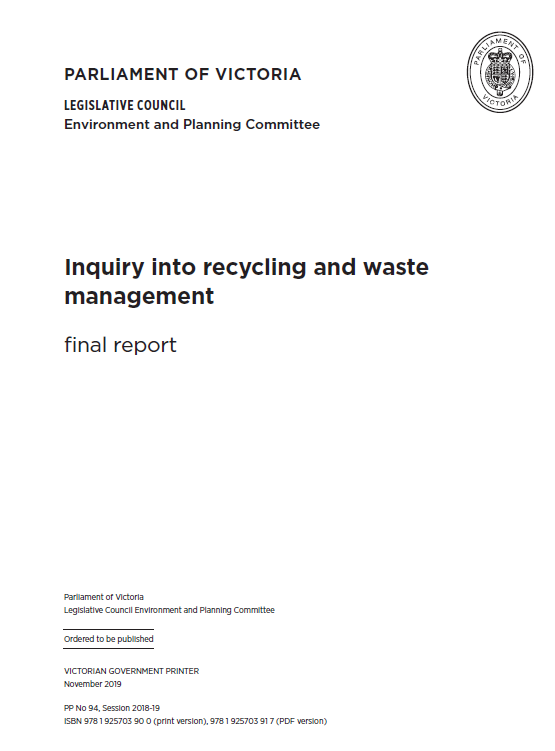Victoria Inquiry into recycling and waste management final report
